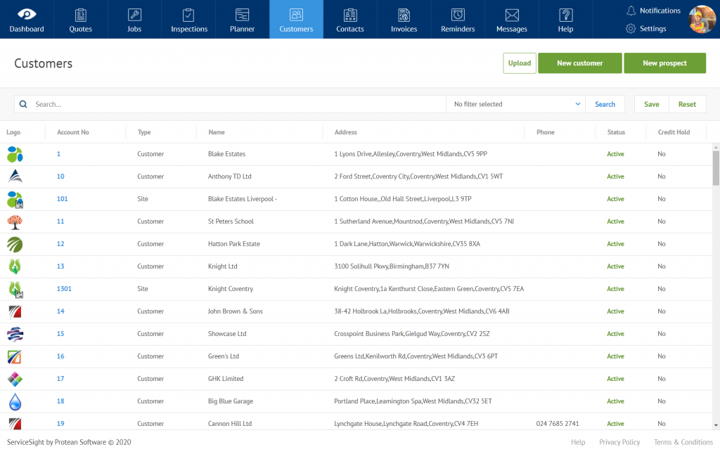 ServiceSight customer and contact database