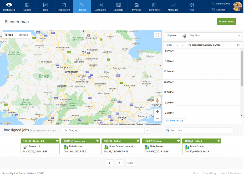 ServiceSight planner dashboard